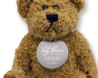 Personalised RING BEARER teddy bear wedding thank you gift, engraved tag  - TED18-10