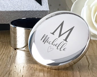 Personalised engraved silver plated trinket box gift for her, round jewellery gift box - RT-NAME