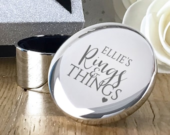 Engraved silver plated trinket box gift, Rings and things personalised jewellery box, ring box, necklace box gift for her - RT-RING