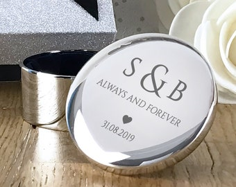 Personalised engraved silver plated wedding ring box gift, gorgeous ring bearer ring box - RT-WR