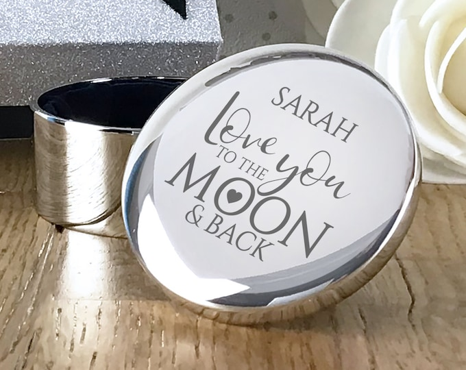 Engraved Love you to the moon and back silver plated trinket box gift, personalised gift for her - RTR-LY