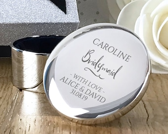 Engraved Bridesmaid gift, personalised trinket box, round silver plated jewellery wedding gift box - RT-WD4
