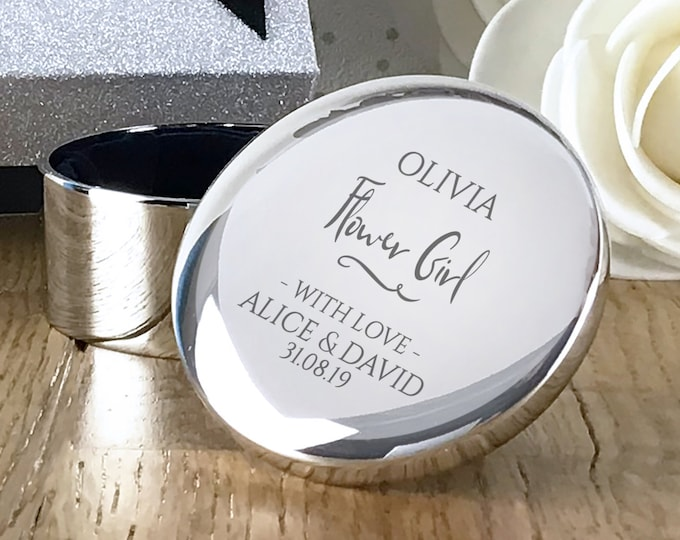 Engraved Flower Girl gift, personalised trinket box, round silver plated jewellery wedding gift box - RT-WD5
