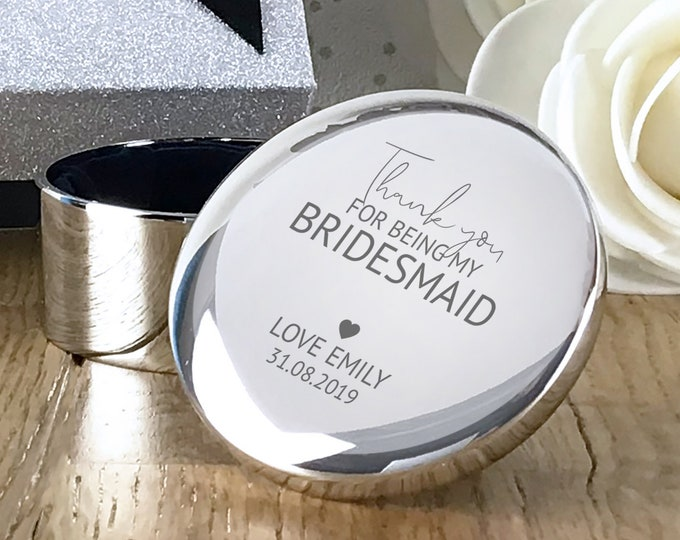 Engraved BRIDESMAID thank you wedding gift, personalised trinket box, round silver plated jewellery box - RT-TY1