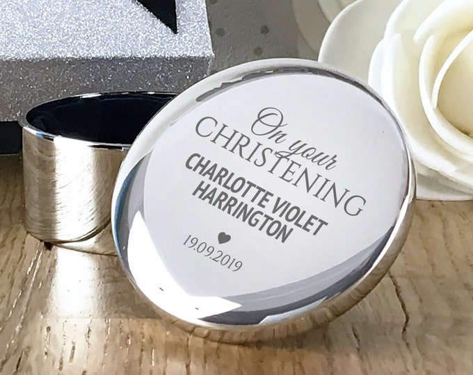 Engraved on Your Christening silver plated trinket box gift, personalised christened baptised godson goddaughter gift - RTR-OYC