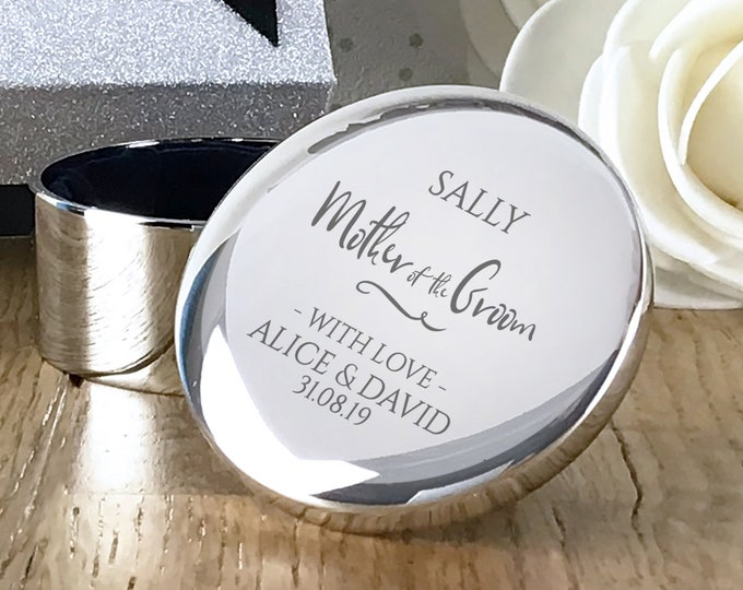 Engraved Mother of the Groom gift, personalised trinket box, round silver plated jewellery wedding gift box - RT-WD2