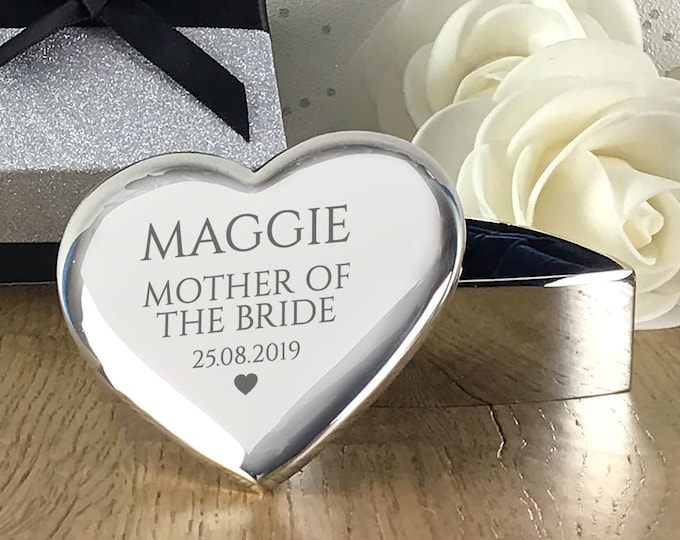 Engraved MOTHER of the BRIDE gift, heart trinket box, personalised silver plated wedding thank you gift - HT-WT2