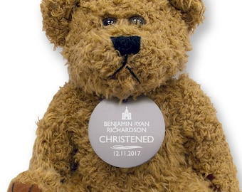 Personalised CHRISTENING teddy bear gift idea with an engraved metal tag  - TED-CHR1
