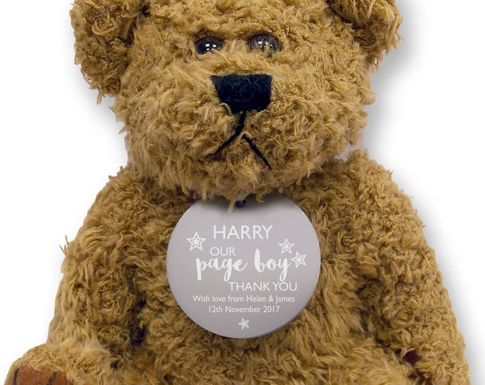 Personalised PAGE BOY teddy bear wedding thank you gift, engraved tag  - TED18-3