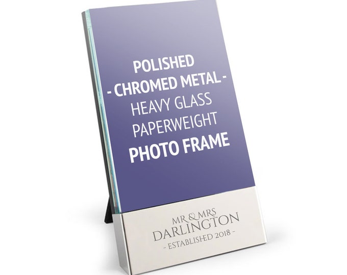 """Personalised engraved WEDDING anniversary photo frame gift, polished chrome & glass, 4 x 6"""" - 8024-COU1"""