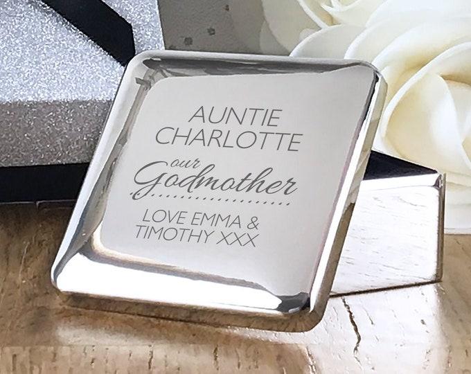 Engraved godmother gift, CHRISTENING baptism trinket box keepsake gift idea  - GDM1