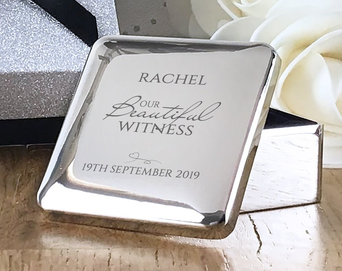 Engraved wedding WITNESS gift, personalised silver plated trinket jewellery box thank you gift - BE5