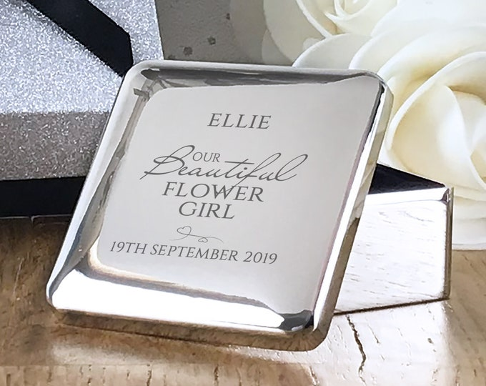 Personalised engraved FLOWER GIRL gift, silver plated trinket box wedding thank you  - SQT-BE4