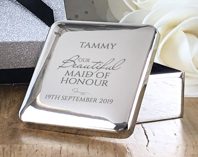 Engraved MAID of HONOUR wedding gift, personalised trinket gift box wedding thank you gift - BE3