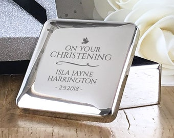 Engraved CHRISTENING gift, personalised trinket box, on your christening baby gift, silver plated  - BCH1