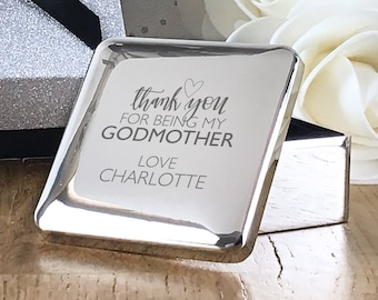 Personalised engraved godmother CHRISTENING baptism gift, silver plated trinket box gift  - GDM2
