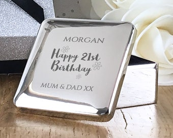Engraved BIRTHDAY trinket box gift for her, personalised silver plated square jewellery box - HB-SQT