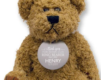 Personalised RING BEARER teddy bear wedding thank you gift, engraved tag  - TED18-14