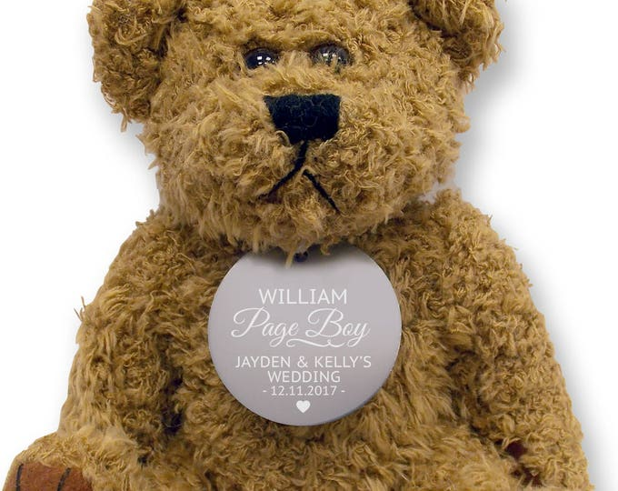 Personalised PAGE BOY teddy bear wedding thank you gift, engraved tag  - TED18-6