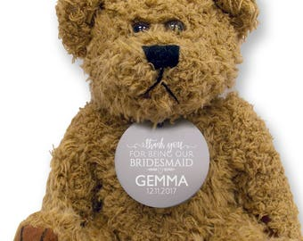 Personalised BRIDESMAID teddy bear wedding thank you gift, engraved tag  - TED18-12