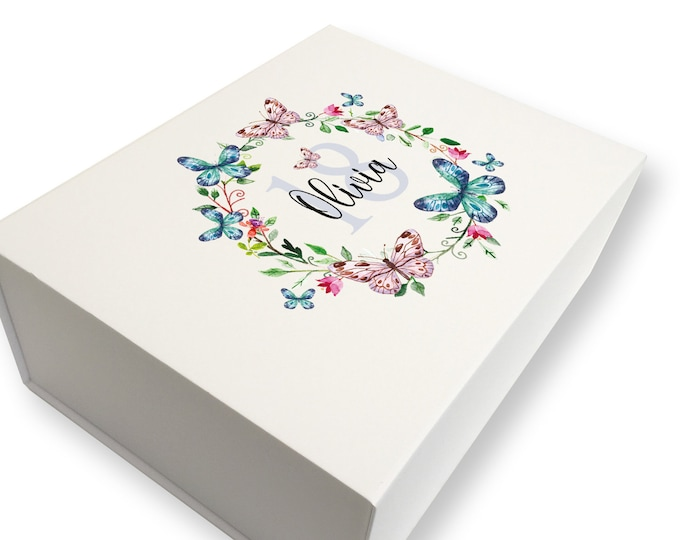 Personalised BIRTHDAY keepsake gift box for her, Butterflies design, 18th 21st 30th 40th 50th 60th 70th birthday box - LB28-BUT