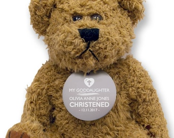 Personalised GODDAUGHTER teddy bear gift idea with an engraved metal tag, christening baptism gift  - TED-GODD1