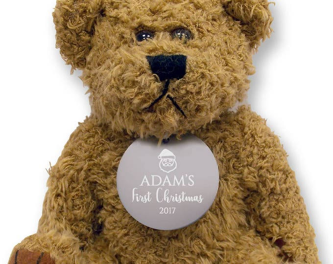 Personalised FIRST CHRISTMAS teddy bear gift idea with an engraved metal tag, baby gift  - TED-XMAS2