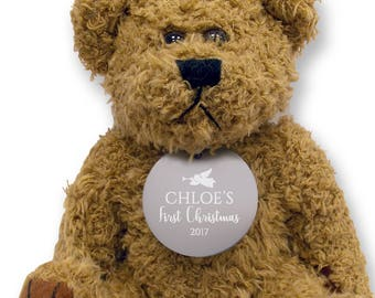 Personalised FIRST CHRISTMAS teddy bear gift idea with an engraved metal tag, baby gift  - TED-XMAS1