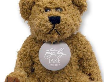 Personalised PAGE BOY teddy bear wedding thank you gift, engraved tag  - TED18-9