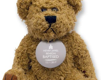 Personalised BAPTISM teddy bear gift idea with an engraved metal tag  - TED-BAPT2
