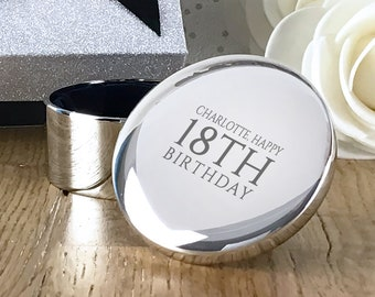 Engraved BIRTHDAY silver plated trinket box gift for her, personalised round jewellery box - RTR18