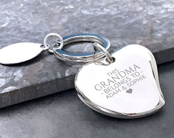 Engraved GRANDMA nan nanny heart keyring, personalised silver plated key chain gift for her - 148-BE2