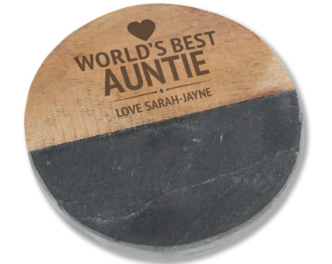 Engraved AUNTIE AUNTY coaster gift, personalised World's Best slate & wood drinks mat  - WB0-WB11