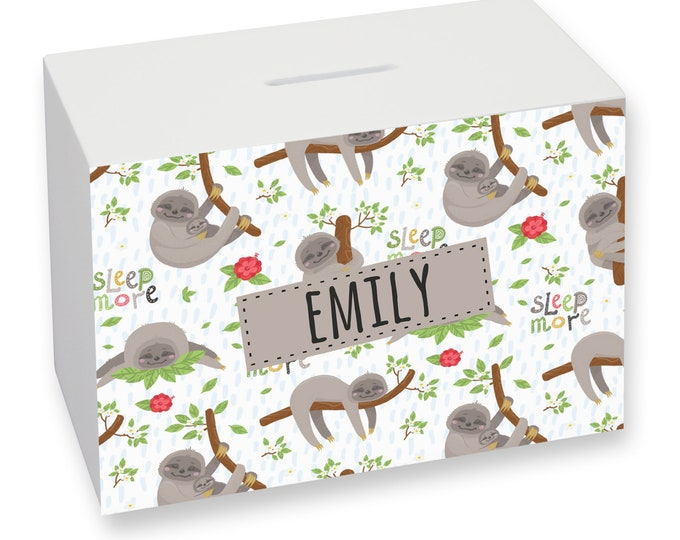 Sloth money box gift idea for a child, personalised savings bank - WMO-KD18