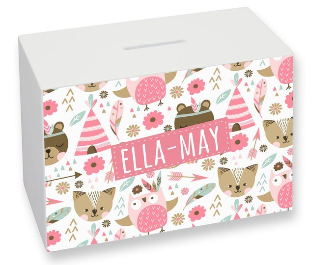 Personalised girl's money box gift idea, cute forest animals - WMO-KD9