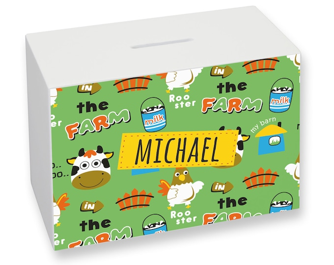 Farm animal PERSONALISED kids money box gift idea - gift from a grandparent - WMO-KD2