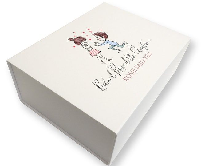 Personalised engagement gift box, keepsake memory box - popped the question, MB28-ENG1
