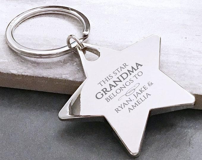 Engraved GRANDMA keyring gift, deluxe chunky metal star keyring, this grandma belongs to - BE4