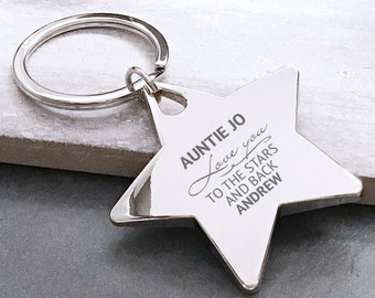 Personalised engraved AUNTIE, AUNTY keyring gift, metal star keyring. Love you to the stars and back - ST3