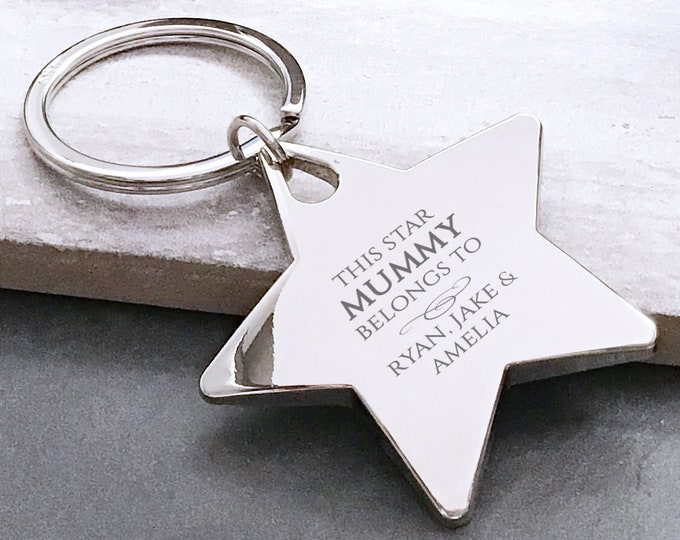 Personalised engraved This star MUM MUMMY belongs to keyring gift, deluxe chunky star keyring - BE2