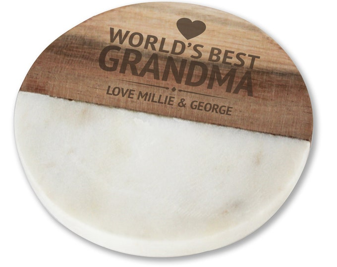 Engraved GRANDMA coaster gift, personalised World's Best stone & wood drinks mat  - WM0-WB9