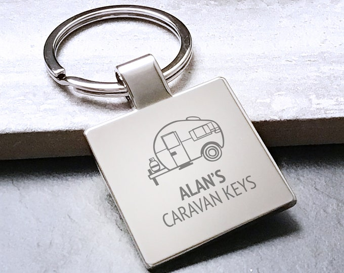 Engraved CARAVAN keyring gift, personalised metal key chain birthday present - 5580CVAN7