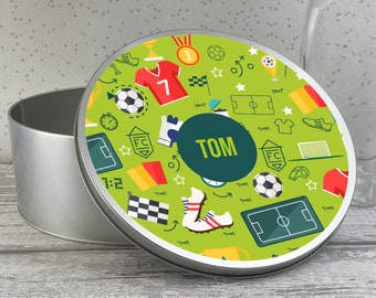 Personalised metal tin storage box gift idea, biscuit tin, sandwich tin, cake tin, football kids gift - RTN-TN20