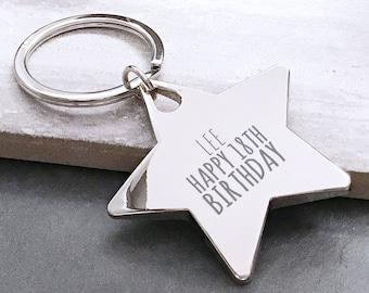 Engraved BIRTHDAY keyring gift, personalised premium metal star keychain, 18th 21st 30th 40th 50th birthday - HB