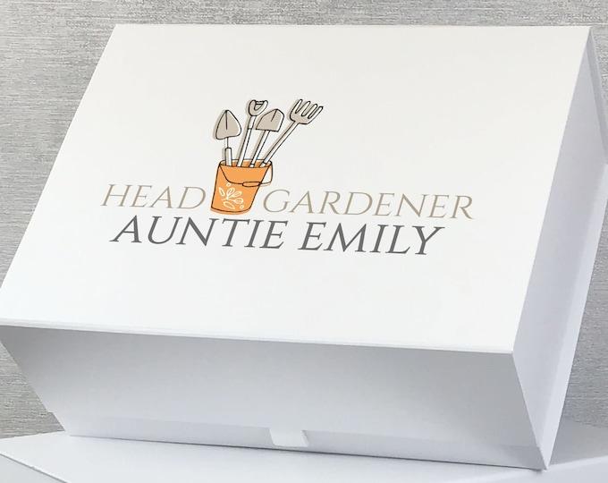 Personalised Head Gardener keepsake gift box hamper, gardening allotment gift box, custom memory box - GAR