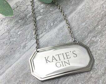 Personalised engraved wine bottle label, decanter spirit bottle label gift idea for a birthday, Christmas or wedding anniversary 7945-2