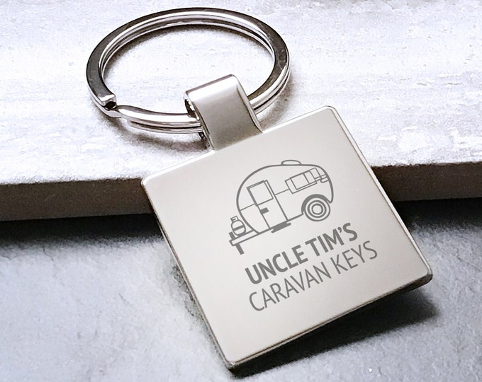 Personalised Engraved CARAVAN keyring square metal keychain gift - 5580CVAN6