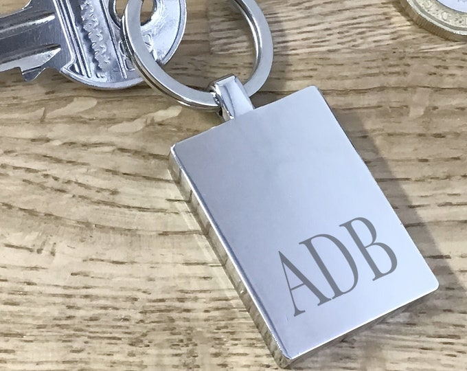 Personalised monogram initials keyring gift, engraved metal key chain - KBL1