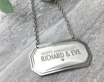 Personalised engraved wine bottle label, decanter spirit bottle label gift idea for a wedding anniversary 7945-3