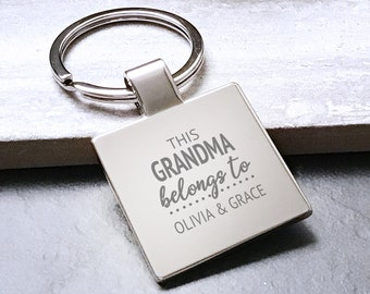 Personalised This GRANDMA belongs to keyring square metal keychain gift - 5580LON6